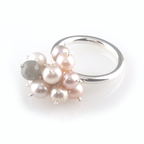 'Pearl Wonder' - pinky pearl cluster silver ring