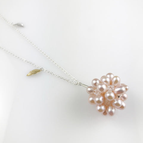 Long pink pearl cluster necklace