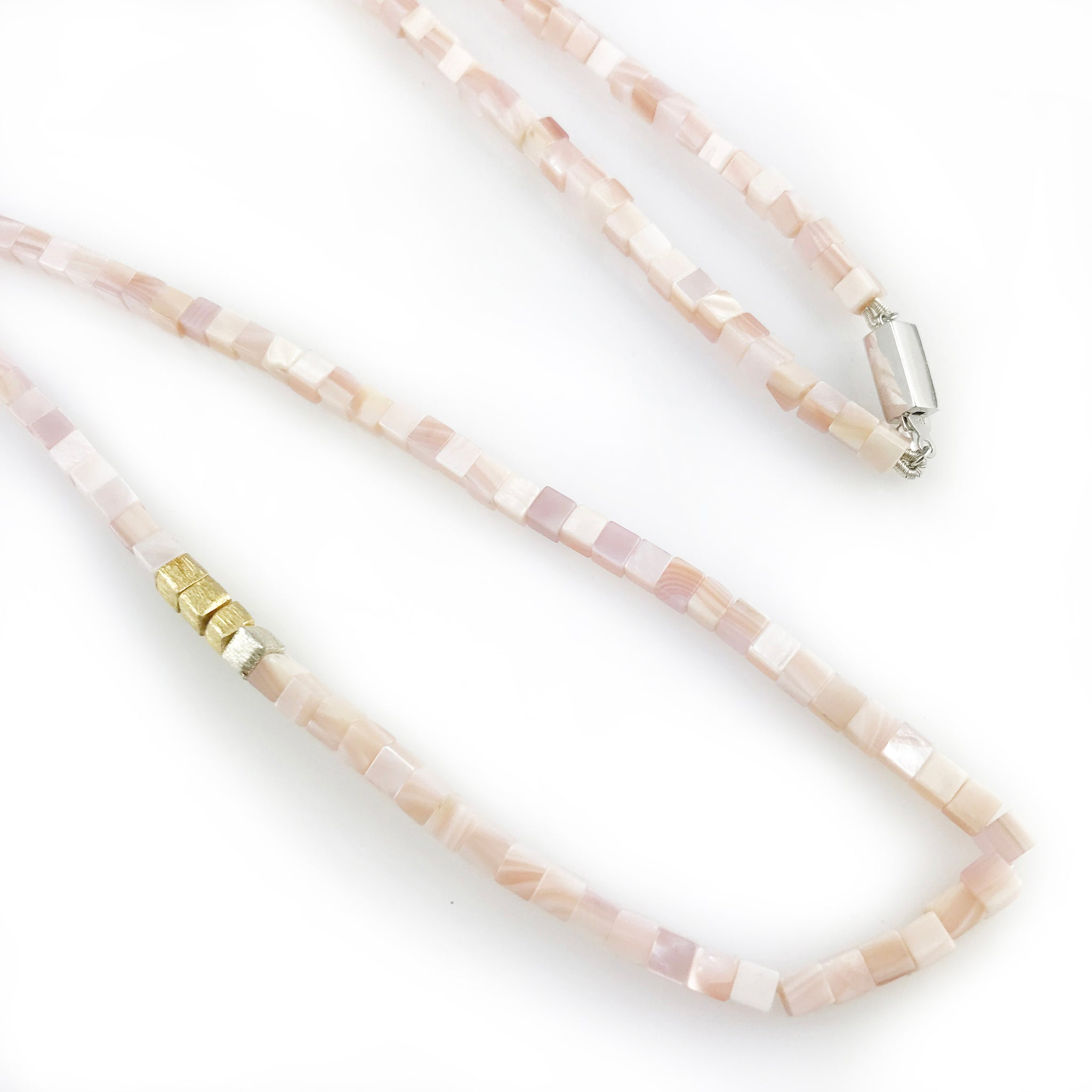 'Pearl Wonder' - pink square mother of pearls necklace