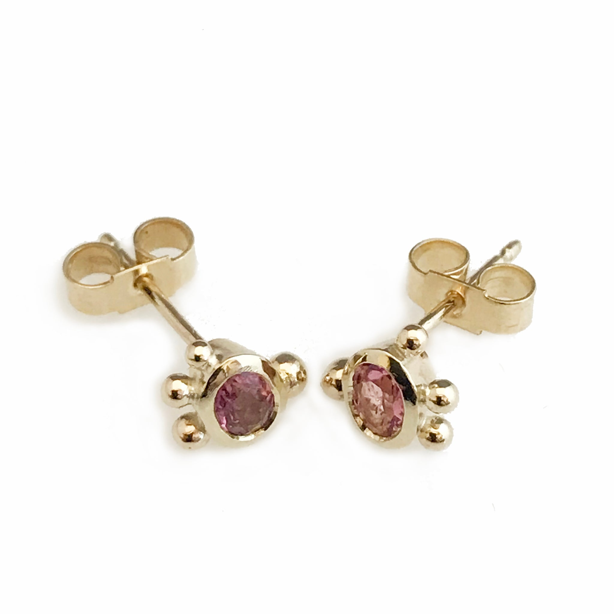 'Gem Amour' - yellow gold pink tourmaline ear studs