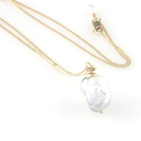 'Pearl Wonder' - Grey south sea pearl pendant with gold chain