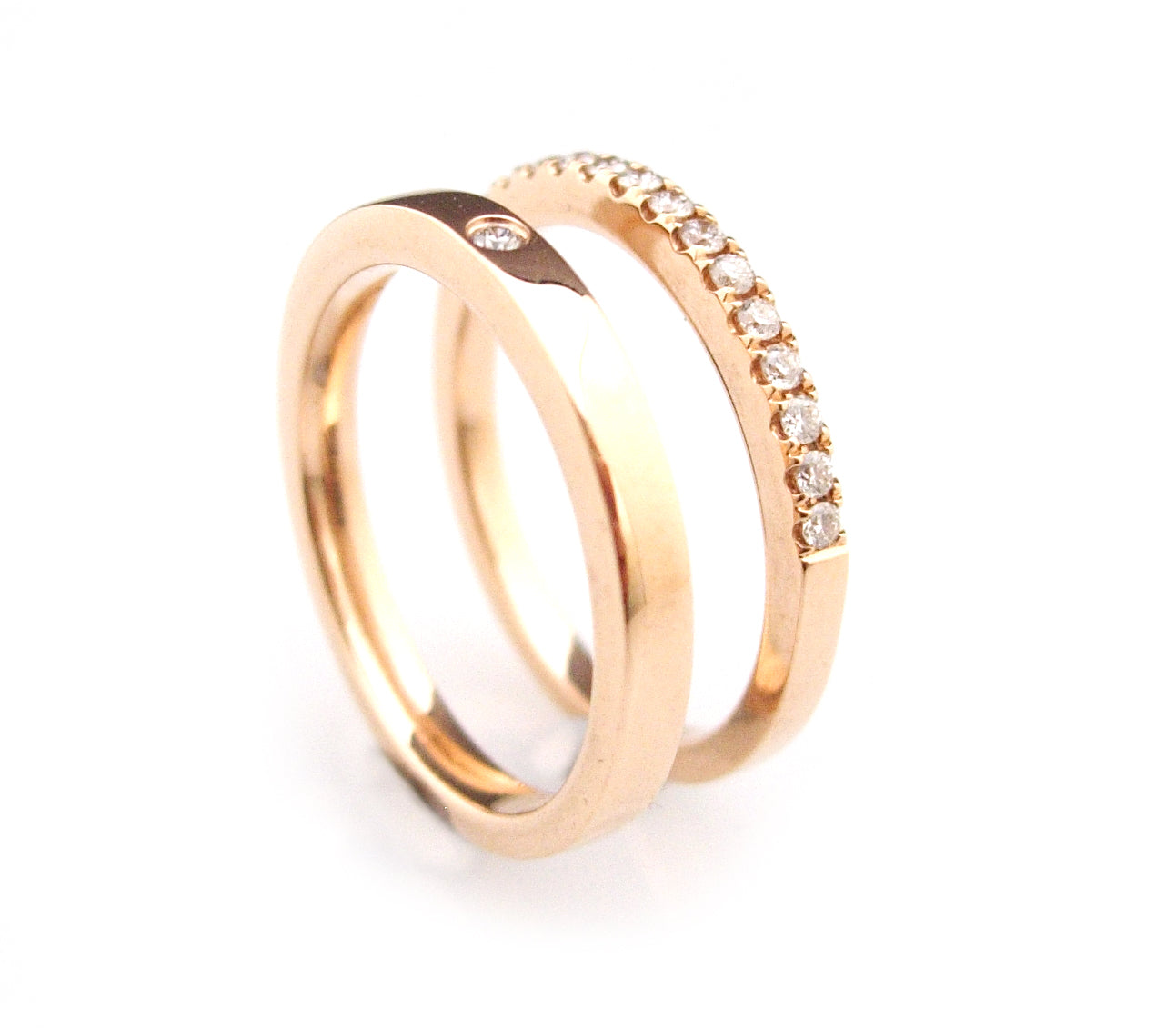 'Gem Amour' - 18ct Rose gold diamond rings ( wedding rings )