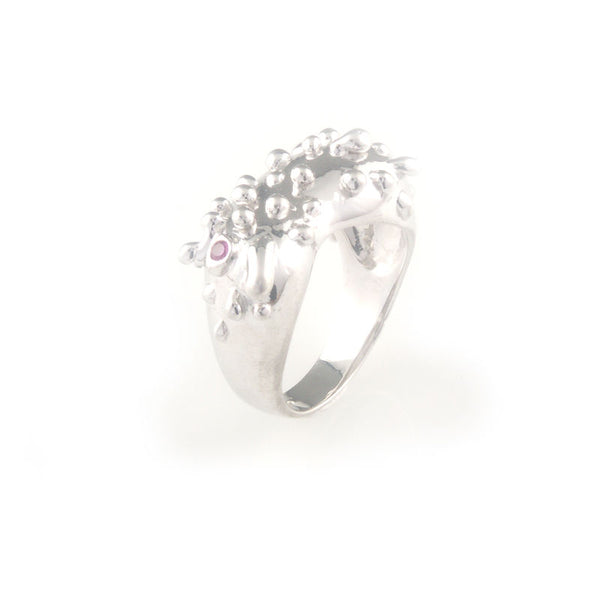 Silver ring with ruby and silver droplet