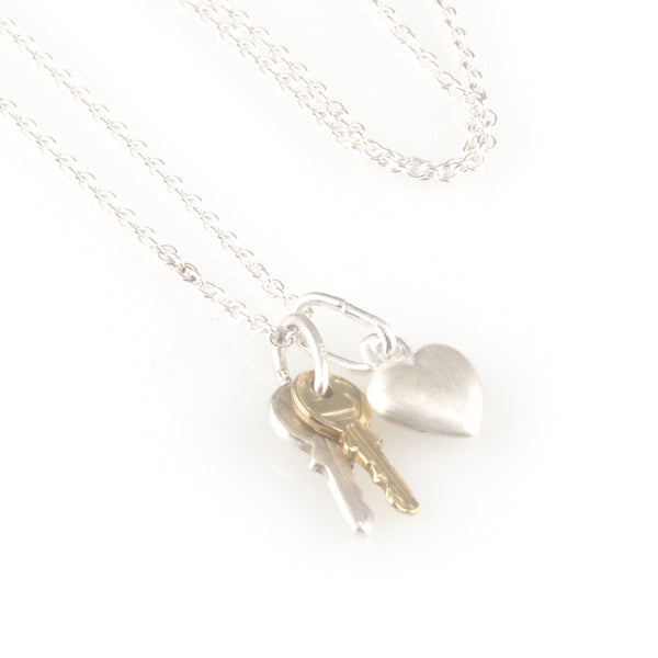 'Key to your heart' - small silver keys with heart necklace