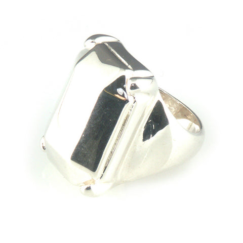 'Diamond Temptation' - big silver emerald cut diamond shaped ring