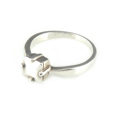'Diamond Temptation' - silver princess cut diamond shaped ring
