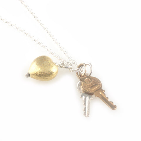 'Key to your heart' - small silver keys with gold heart necklace