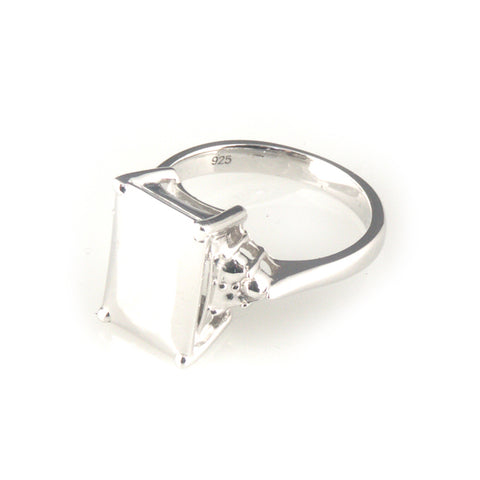 'Diamond Temptation' -  small emerald cut diamond shaped silver ring