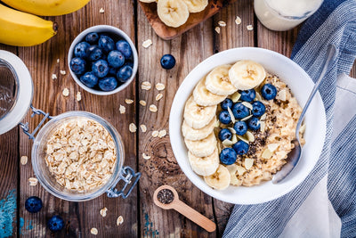 Vanilla Oats with Blueberries and Banana