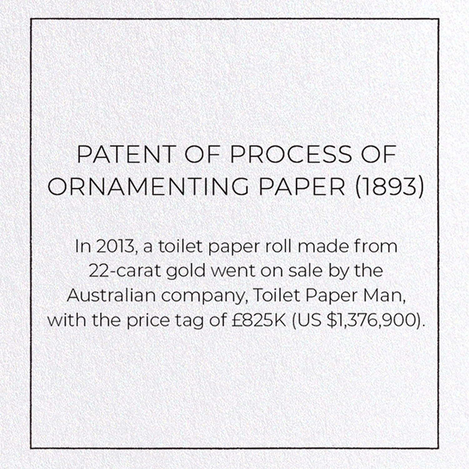 PATENT OF PROCESS OF ORNAMENTING PAPER (1893)