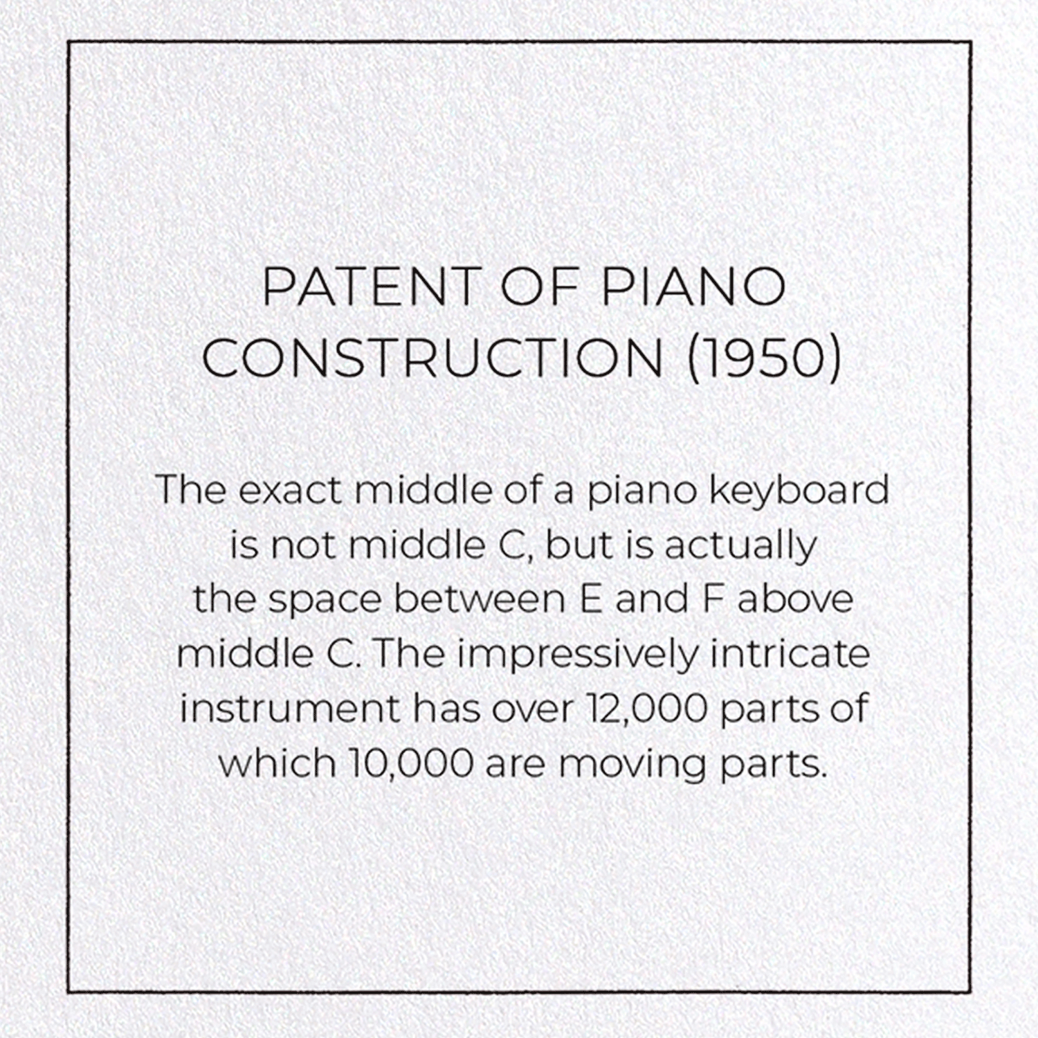 PATENT OF PIANO CONSTRUCTION (1950)