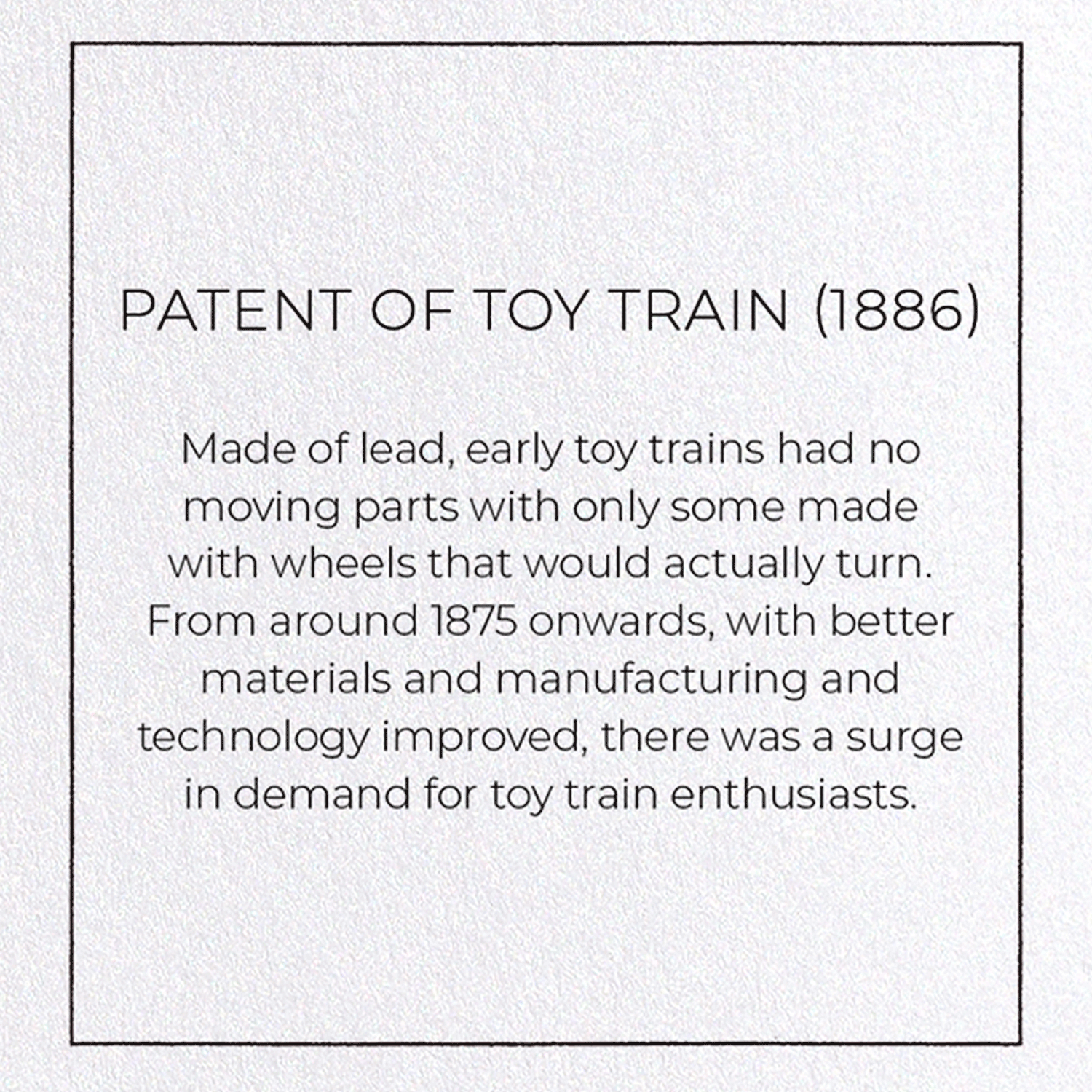 PATENT OF TOY TRAIN (1886)