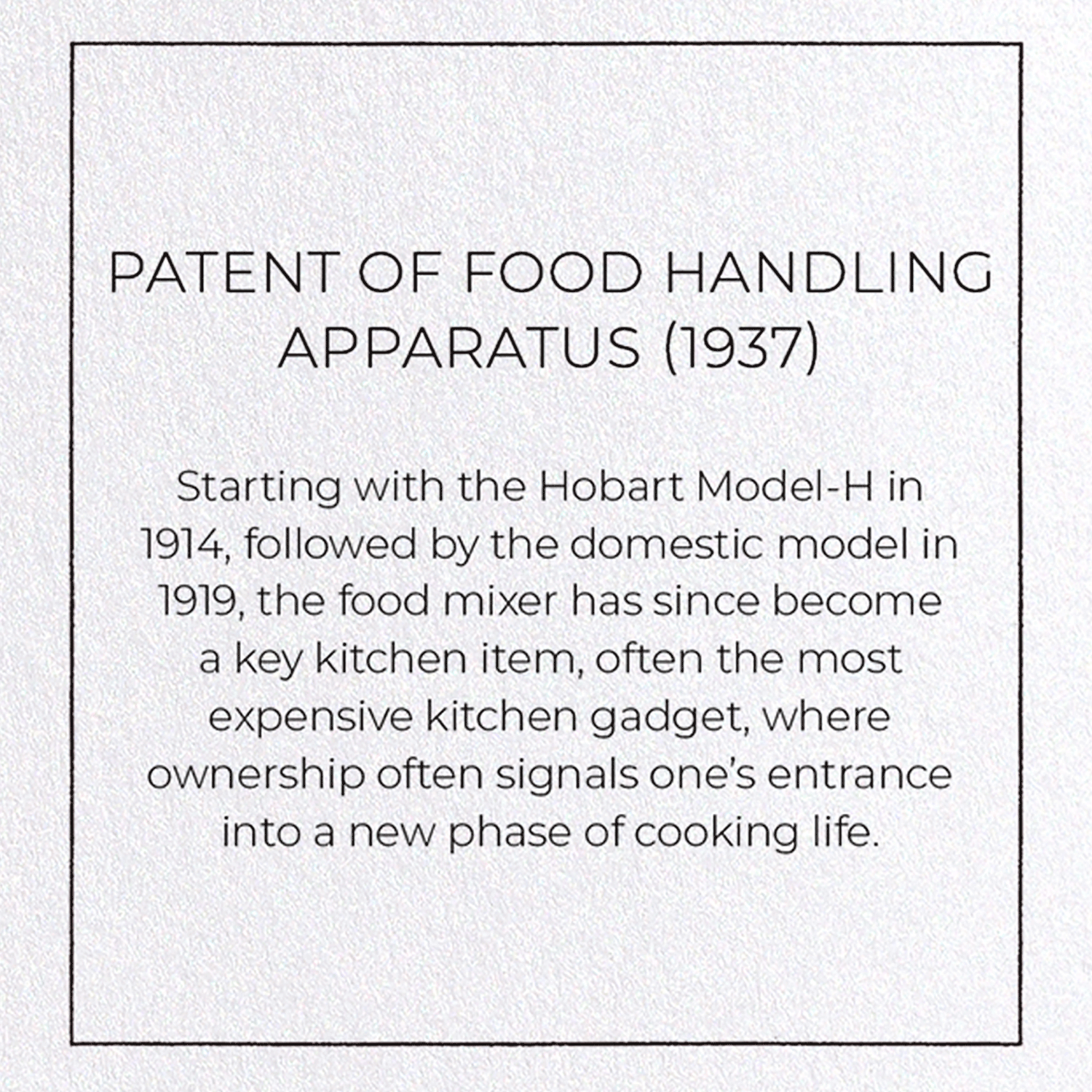 PATENT OF FOOD HANDLING APPARATUS (1937)