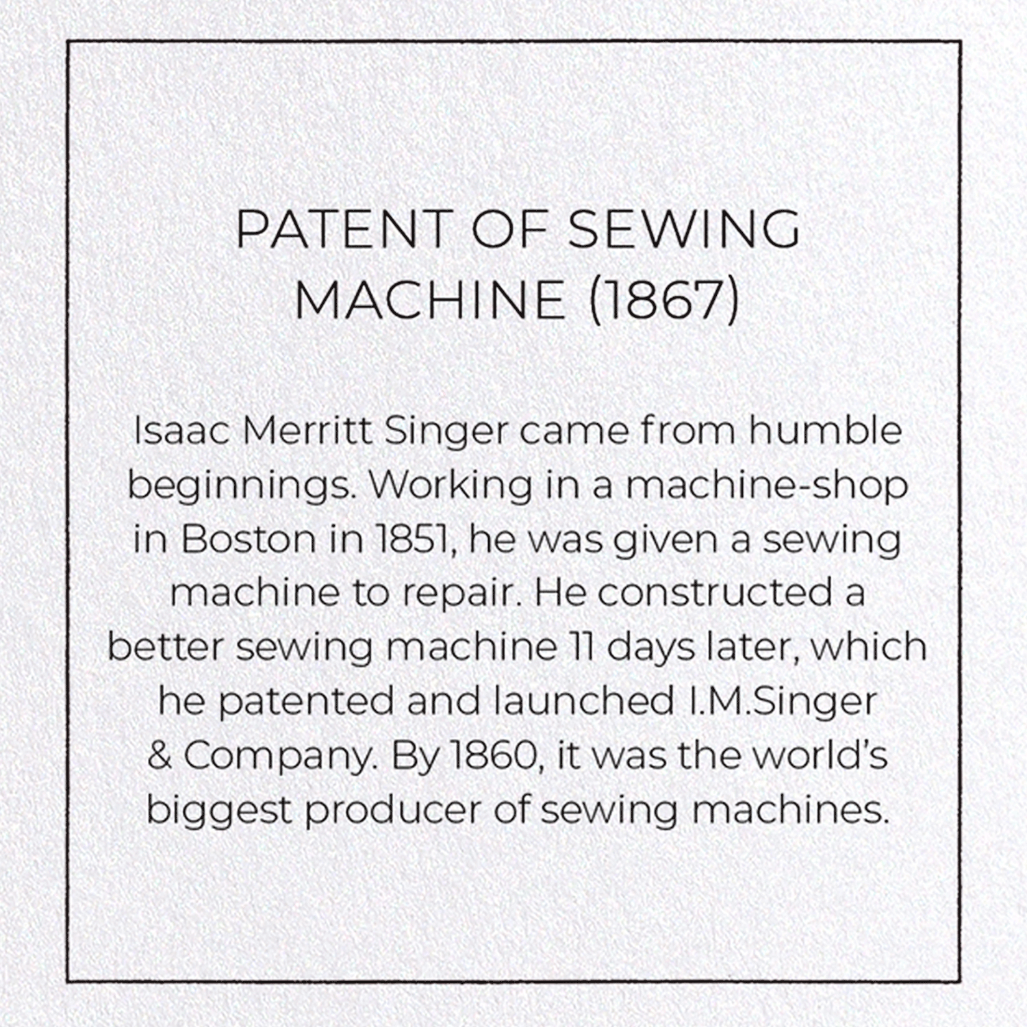 PATENT OF SEWING MACHINE (1867)