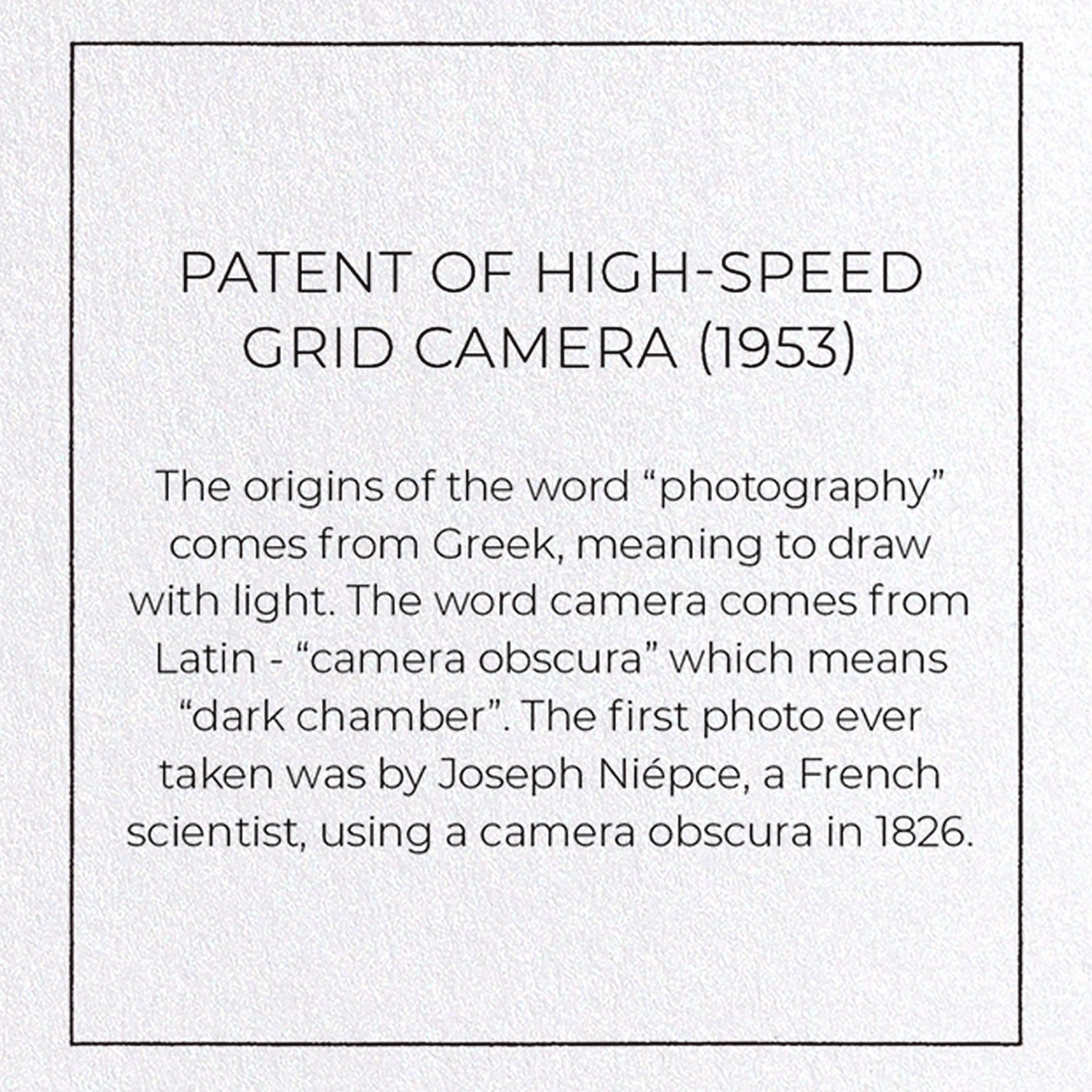 PATENT OF HIGH-SPEED GRID CAMERA (1953)