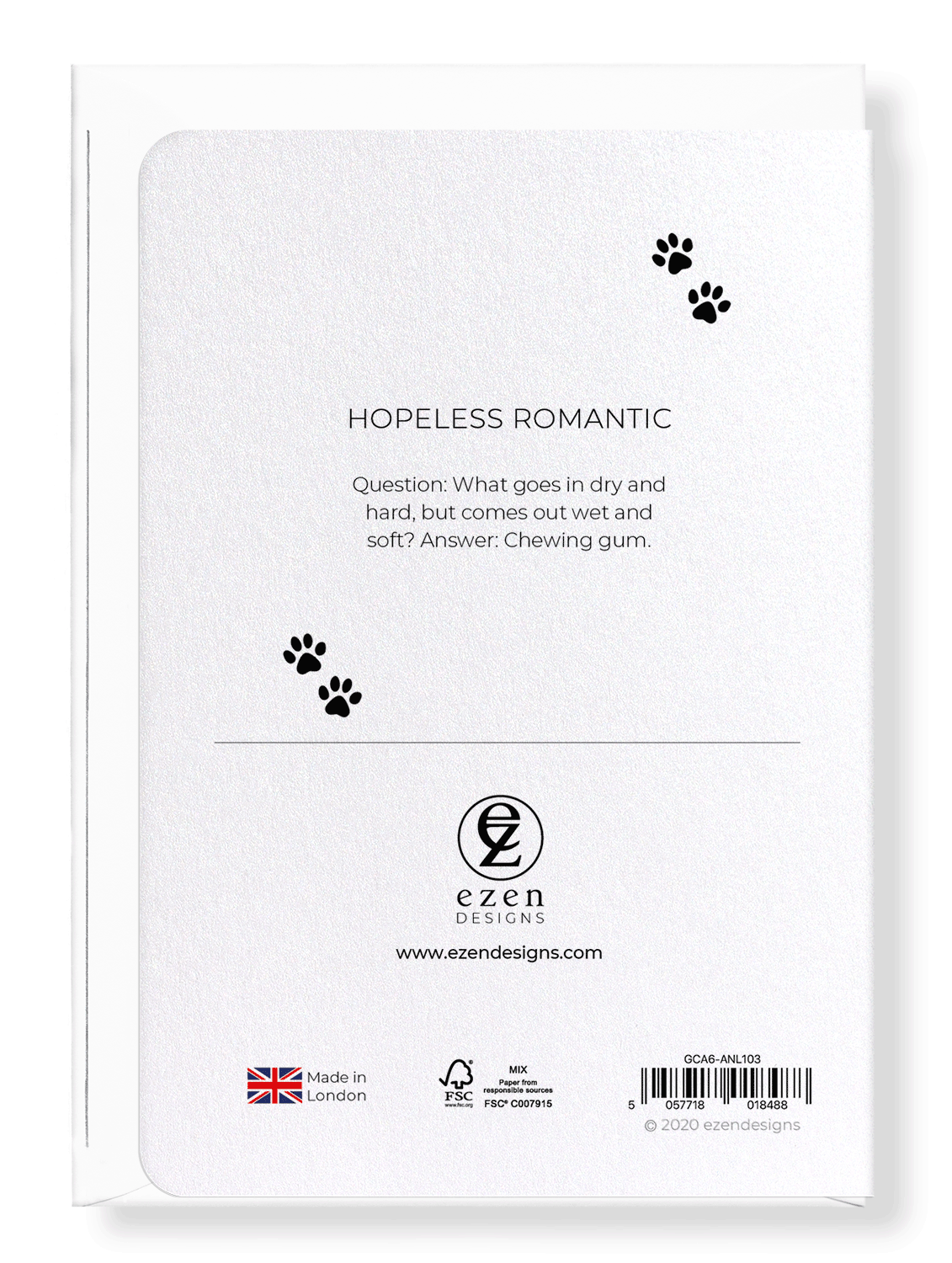 Ezen Designs - Hopeless romantic - Greeting Card - Back