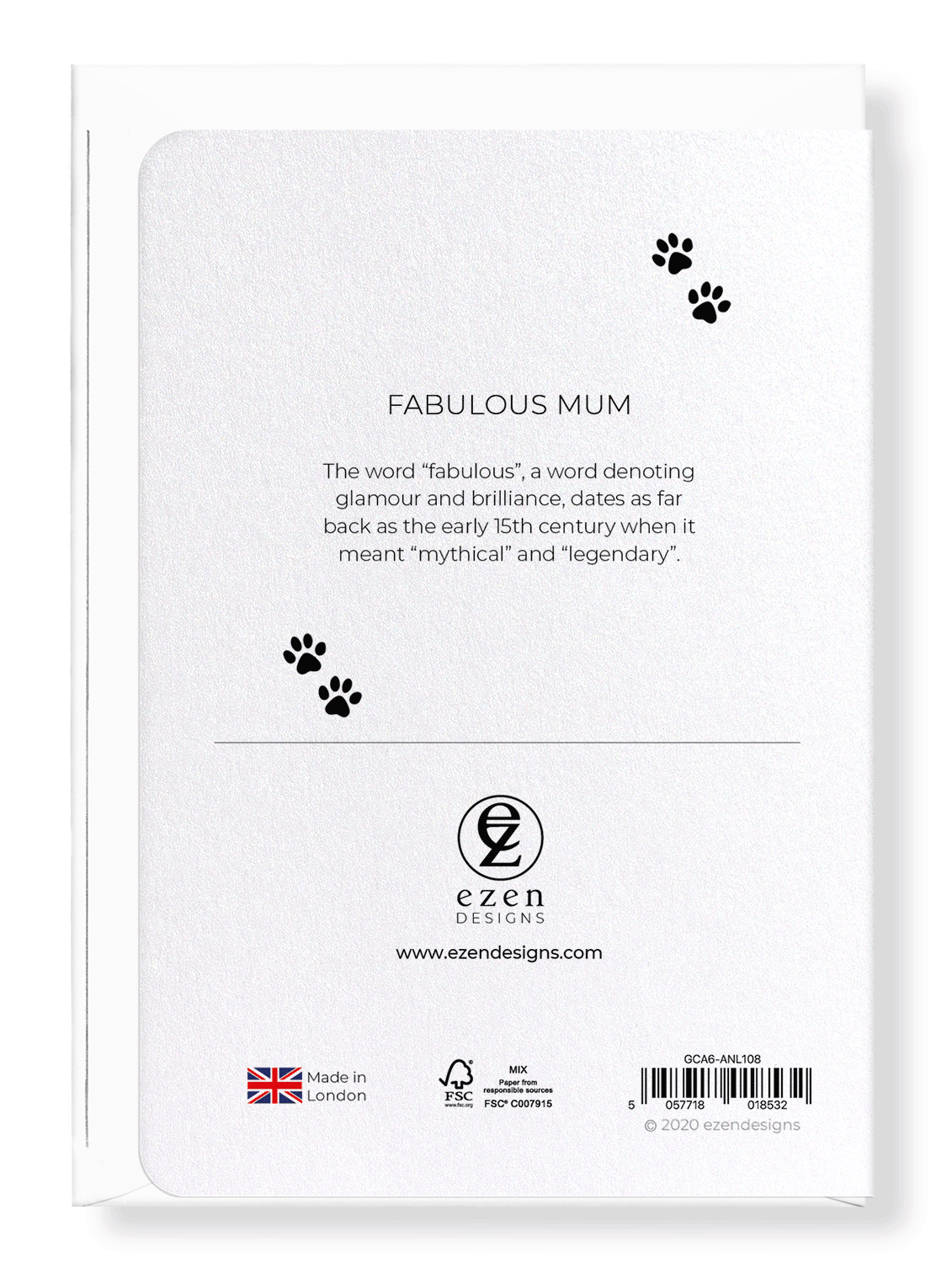 Ezen Designs - Fabulous mum - Greeting Card - Back