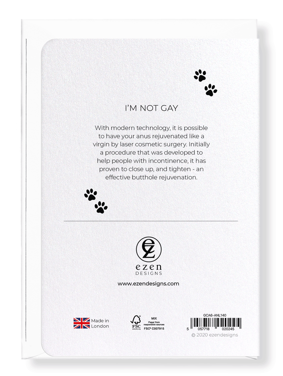 Ezen Designs - I'm not gay - Greeting Card - Back