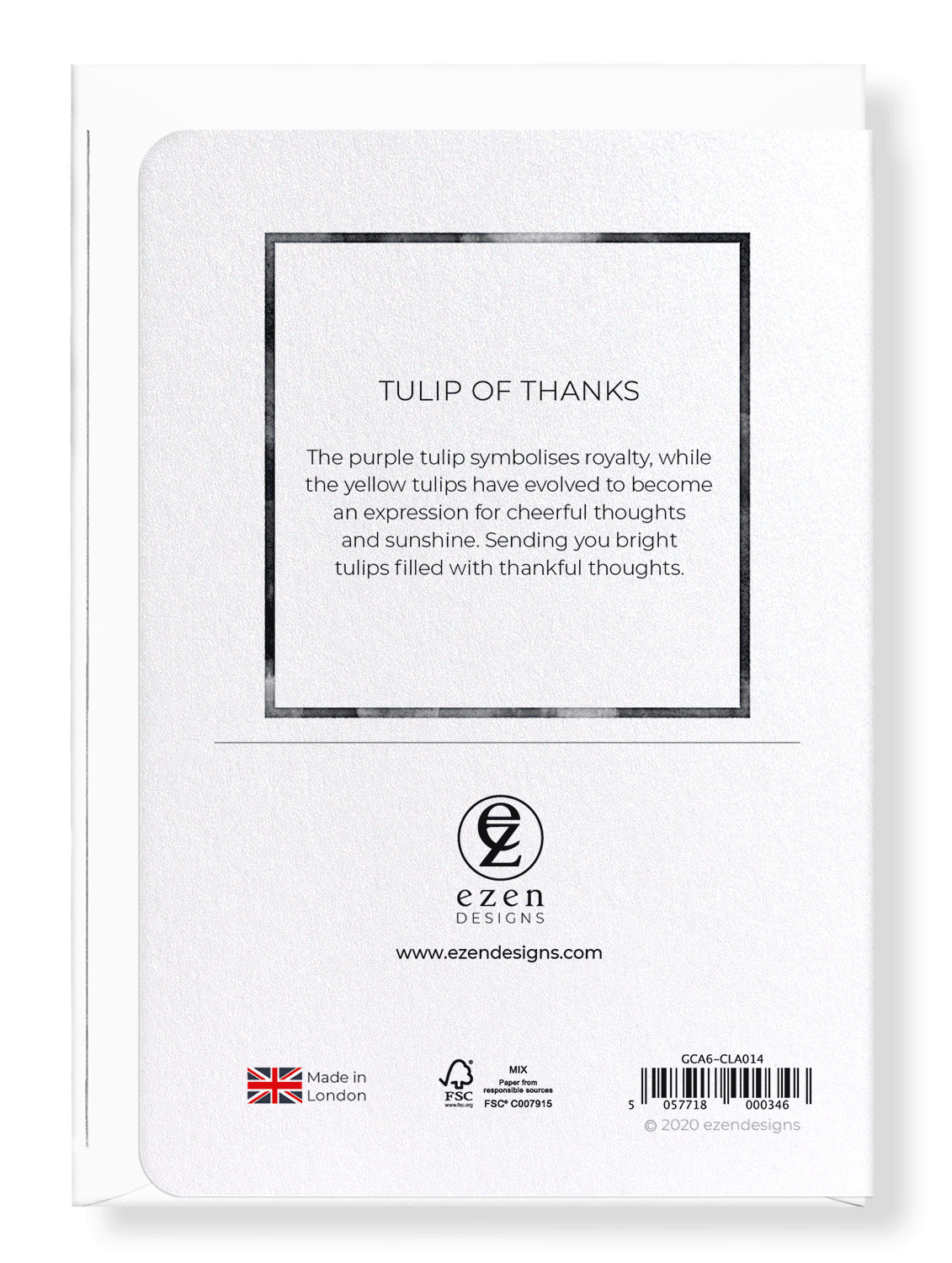 Ezen Designs - Tulip of thanks - Greeting Card - Back