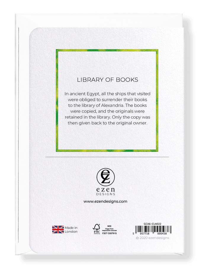 Ezen Designs - Library of books - Greeting Card - Back
