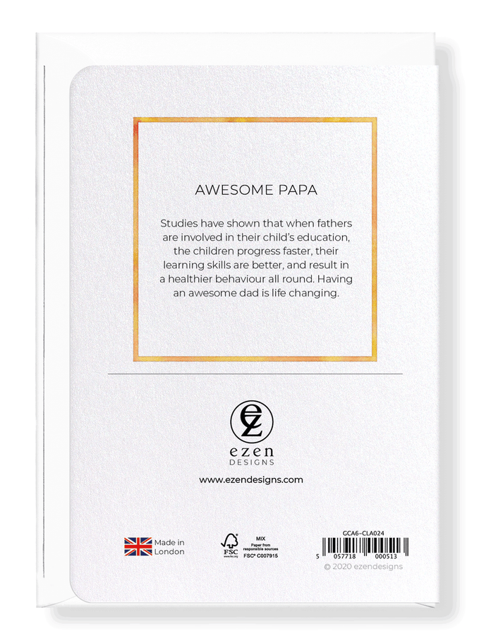 Ezen Designs - Awesome papa - Greeting Card - Back