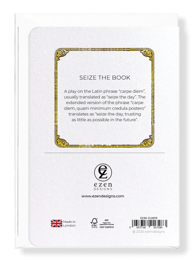 Ezen Designs - Seize the book - Greeting Card - Back