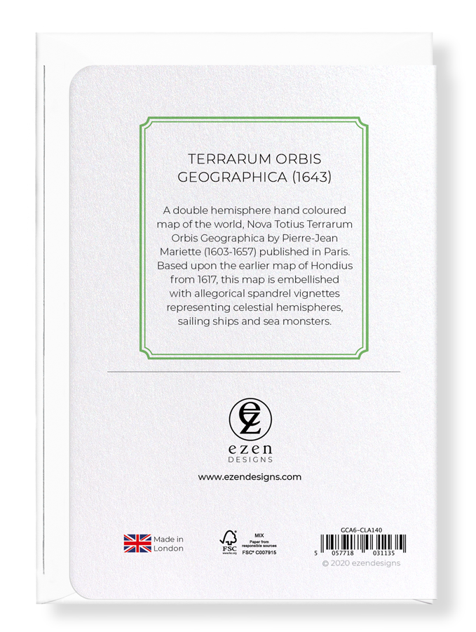 Ezen Designs - Terrarum orbis geographica (1643) - Greeting Card - Back