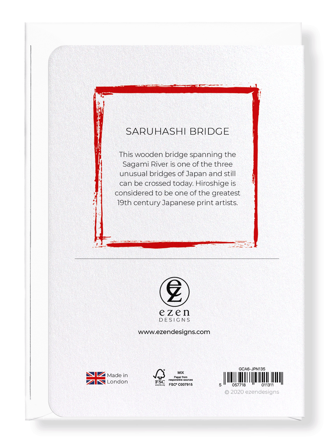 Ezen Designs - Saruhashi bridge - Greeting Card - Back
