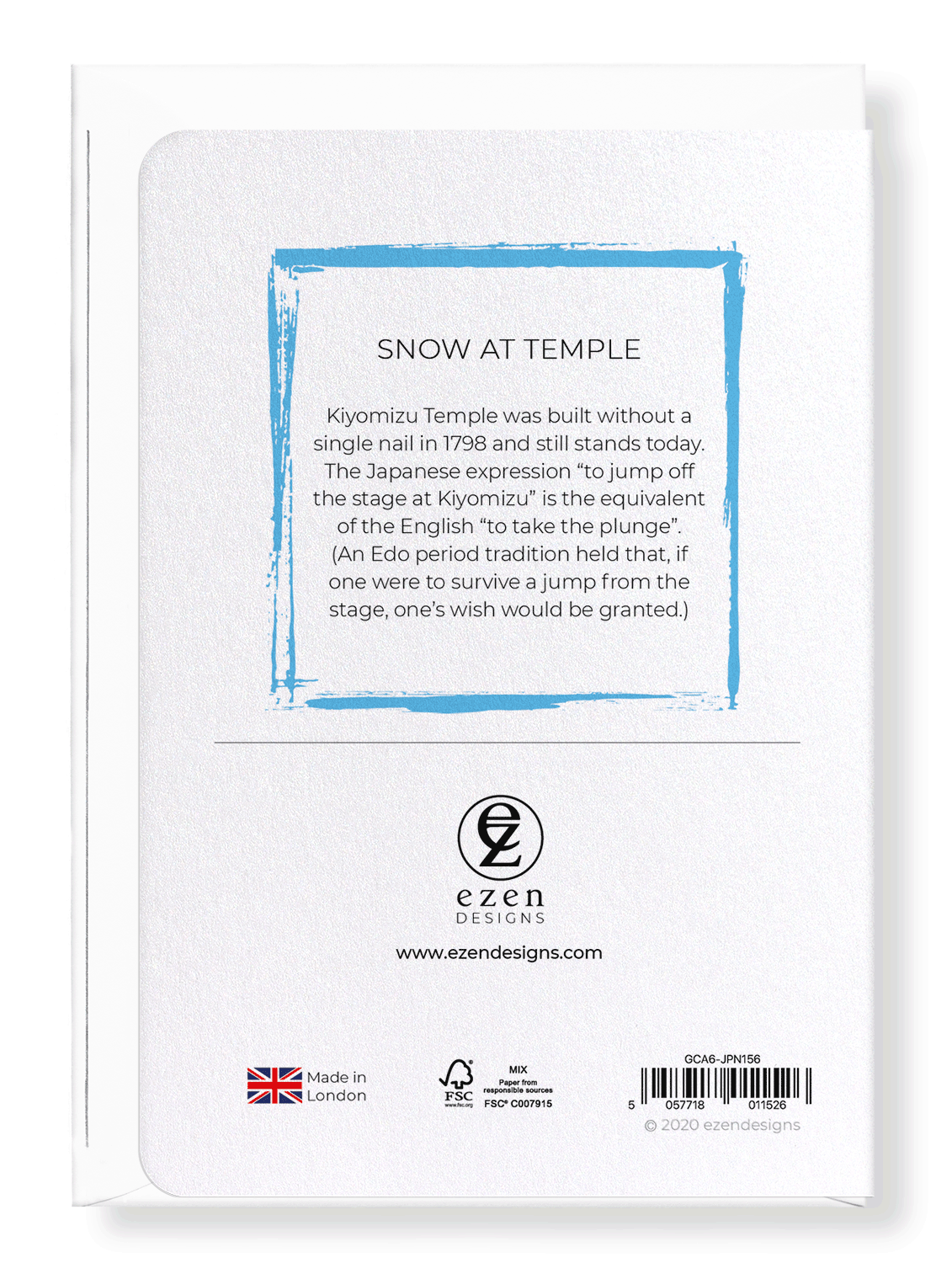 Ezen Designs - Snow at temple - Greeting Card - Back