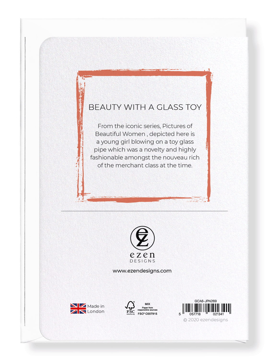 Ezen Designs - Beauty with a glass toy - Greeting Card - Back