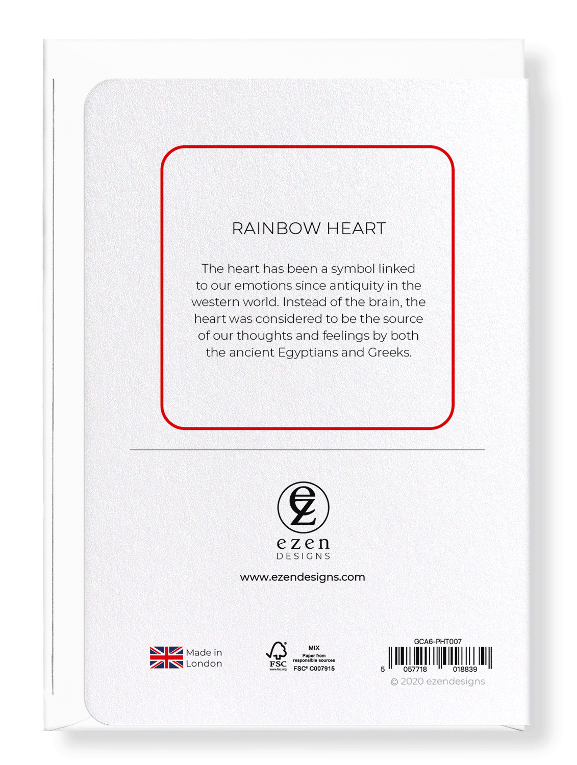 Ezen Designs - Rainbow heart - Greeting Card - Back