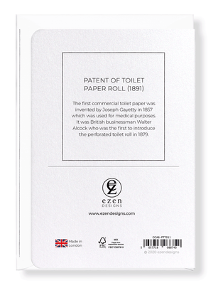 Ezen Designs - Patent of toilet paper roll (1891) - Greeting Card - Back