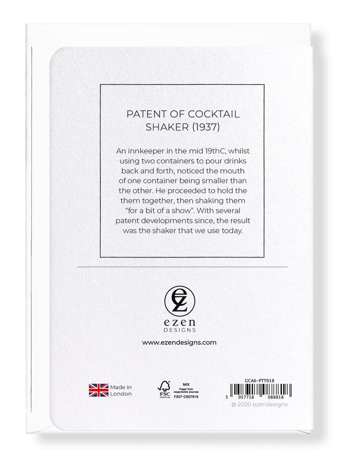 Ezen Designs - Patent of cocktail shaker (1937) - Greeting Card - Back