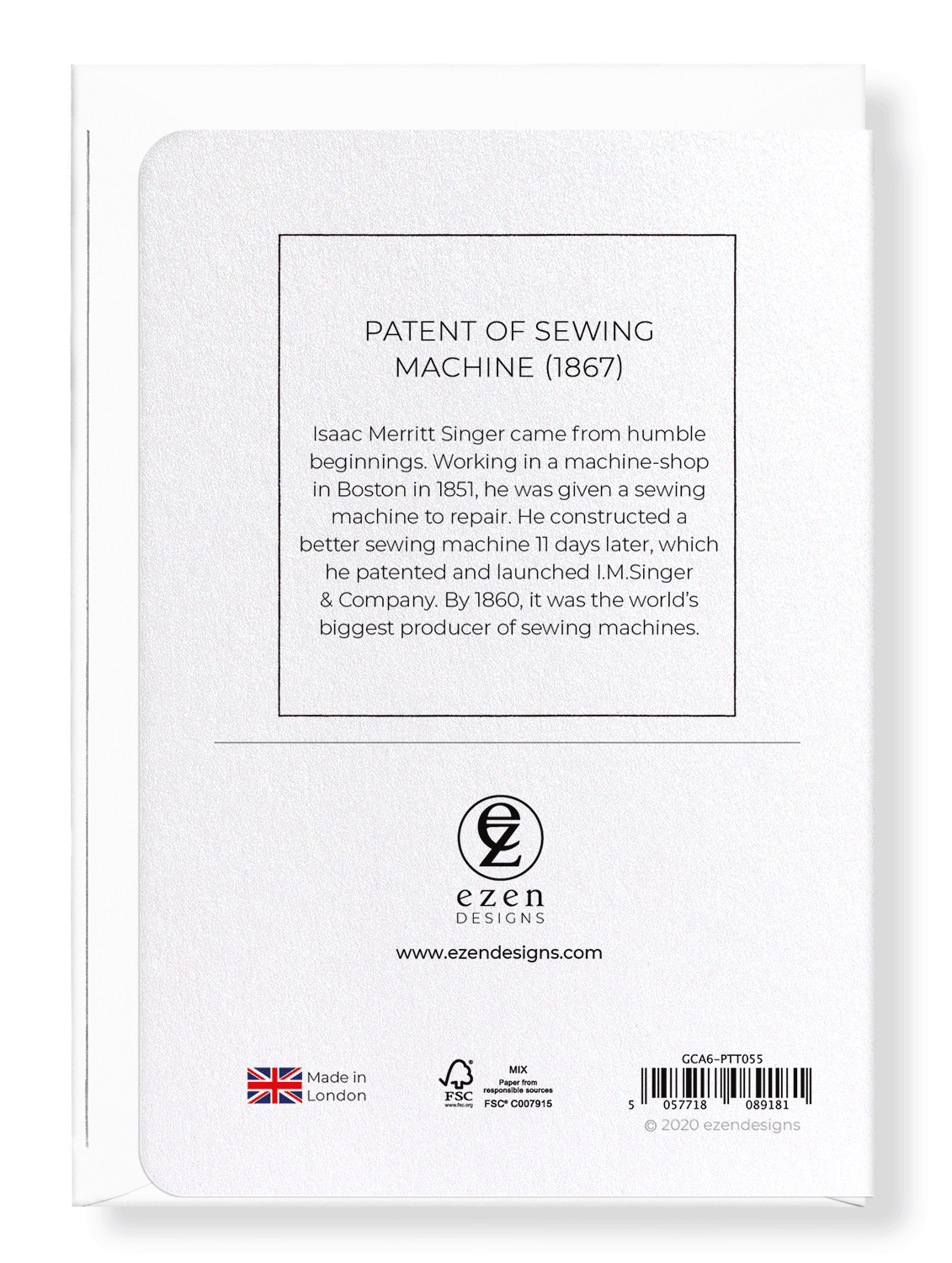Ezen Designs - Patent of sewing machine (1867) - Greeting Card - Back