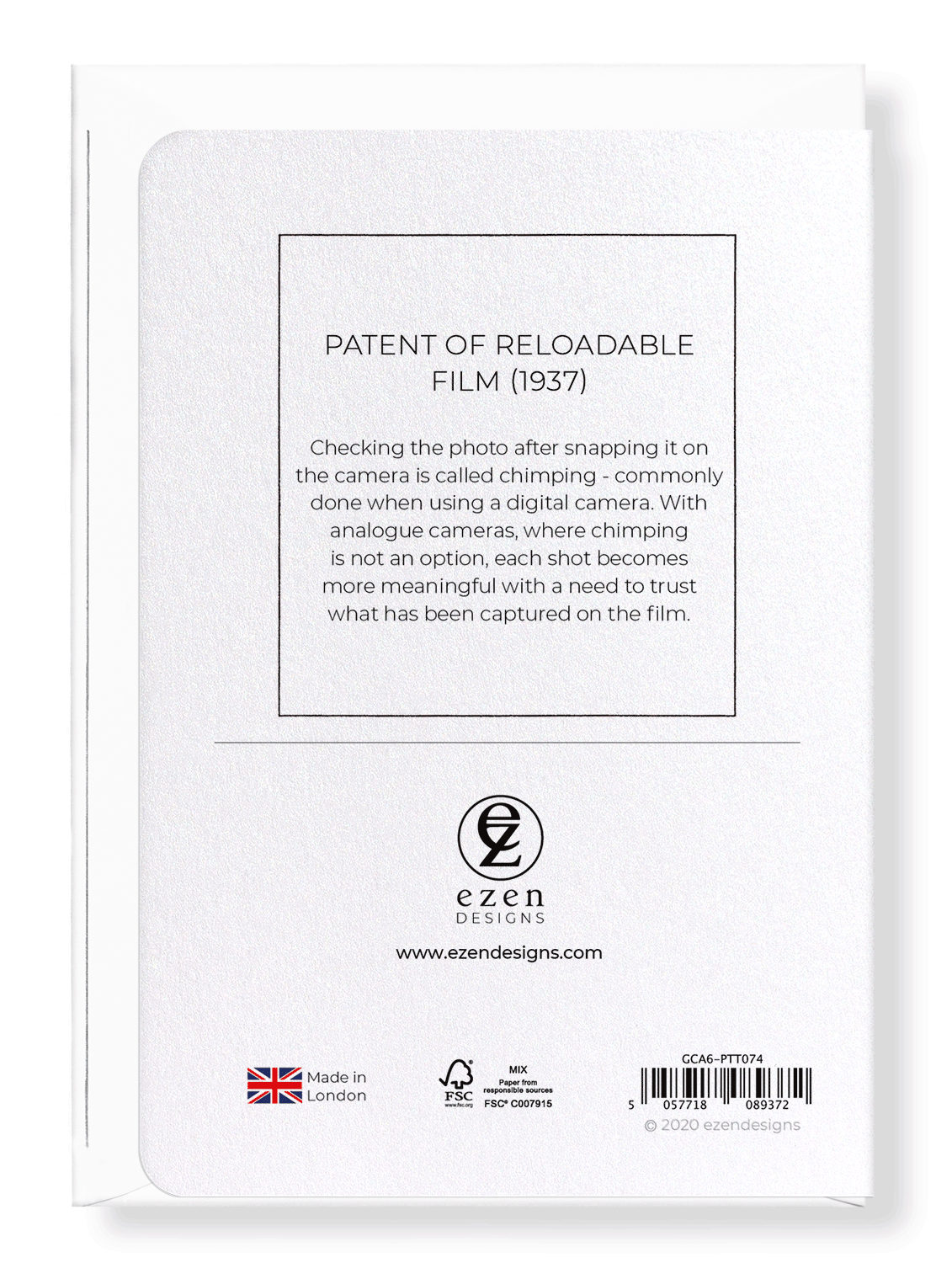 Ezen Designs - Patent of reloadable film (1937) - Greeting Card - Back