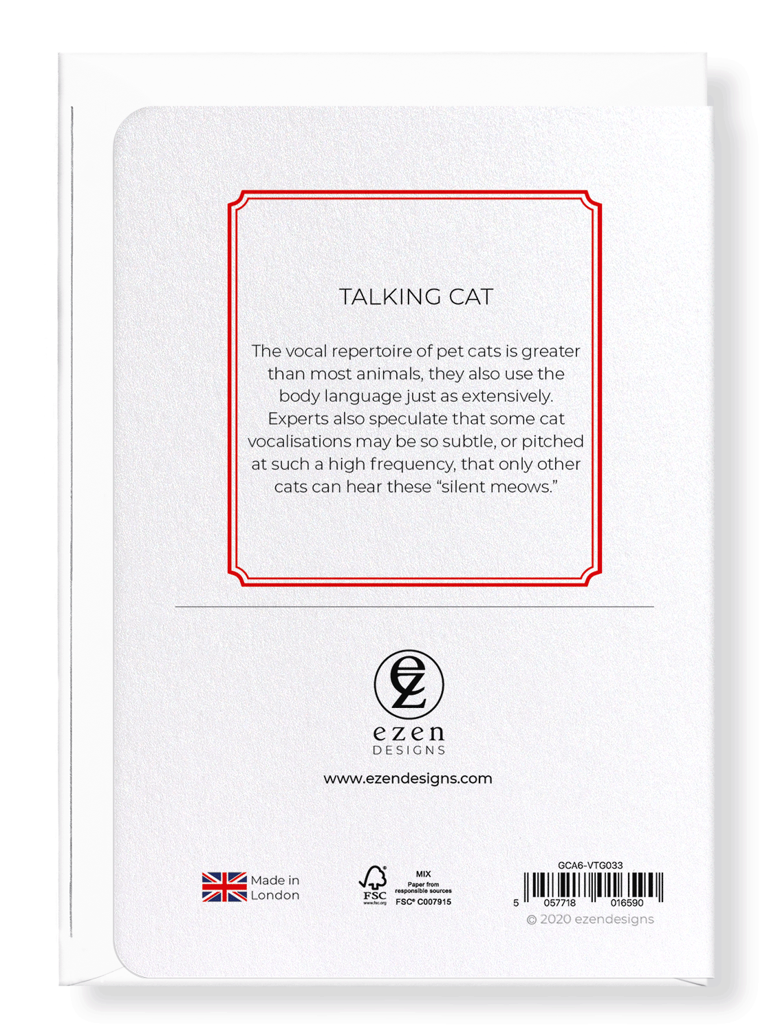 Ezen Designs - Talking cat - Greeting Card - Back