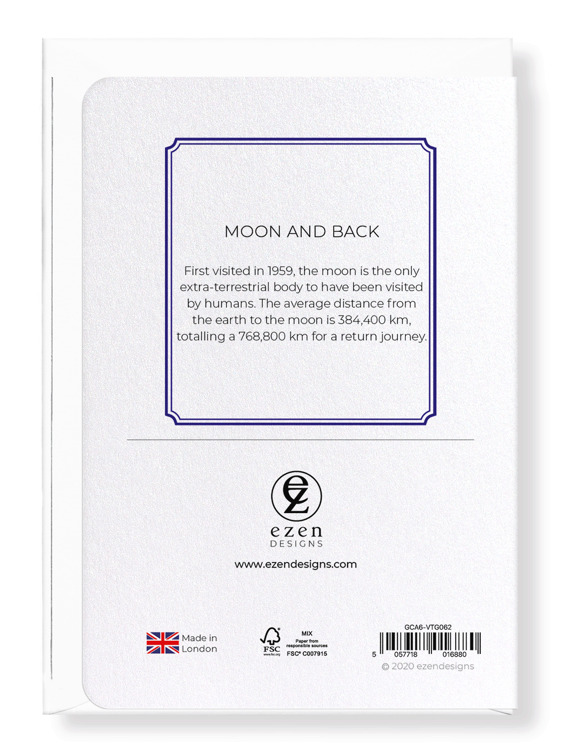 Ezen Designs - Moon and back - Greeting Card - Back