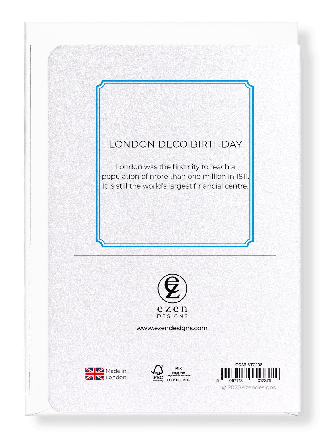Ezen Designs - London deco birthday - Greeting Card - Back