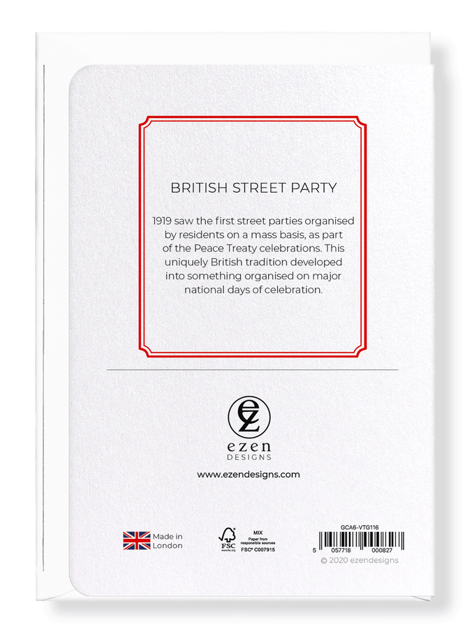 Ezen Designs - British street party - Greeting Card - Back
