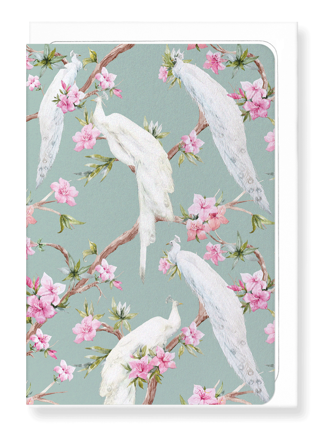 Ezen Designs - White peacocks - Greeting Card - Front