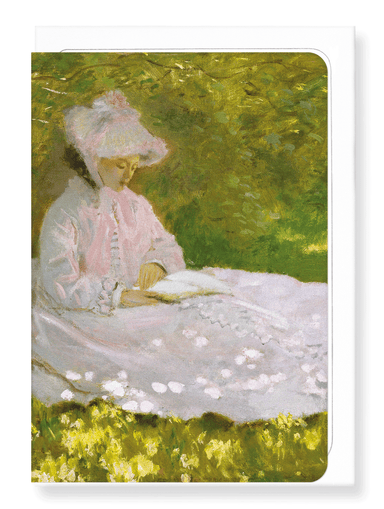 Ezen Designs - Spring time reading by monet - Greeting Card - Front