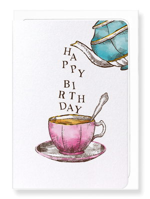Ezen Designs - Pouring birthday tea - Greeting card - Front