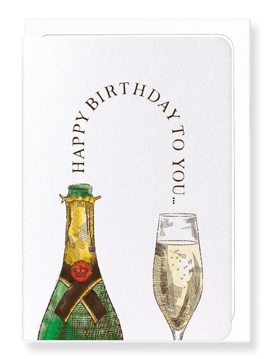 Ezen Designs - Happy birthday champagne - Greeting Card - Front