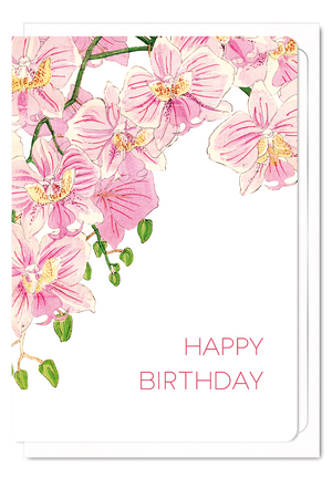 Ezen Designs - Birthday (pink orchid) - Greeting card - Front