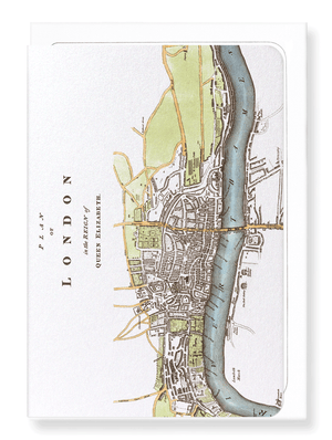 Ezen Designs - London map (c.1580) - Greeting Card - Front