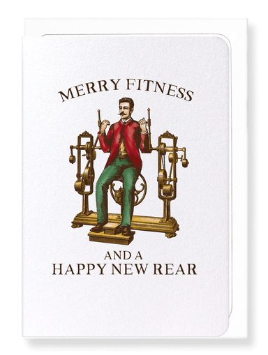 Ezen Designs - Merry fitness and new rear - Greeting Card - Front