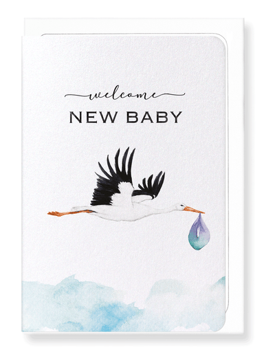 Ezen Designs - Stork and baby - Greeting Card - Front