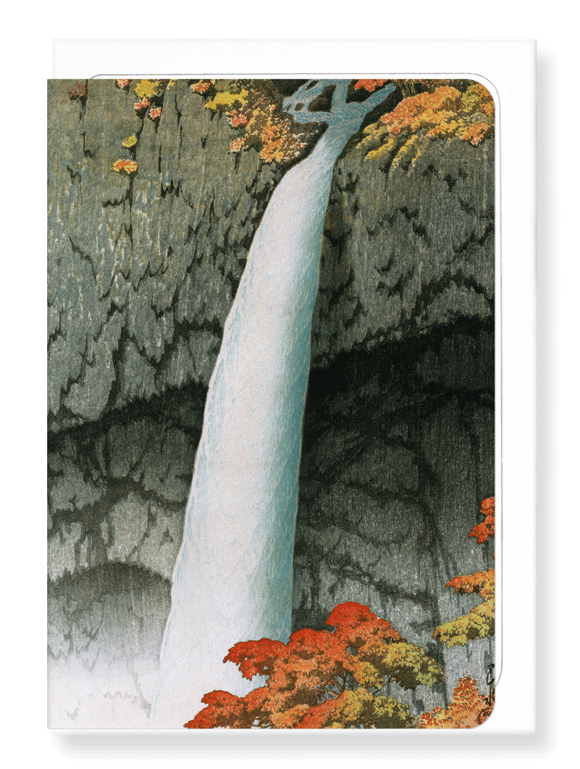 Ezen Designs - Nikko waterfall - Greeting Card - Front