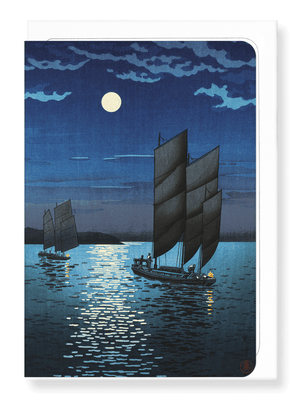 Ezen Designs - Boats at shinagawa night - Greeting Card - Front