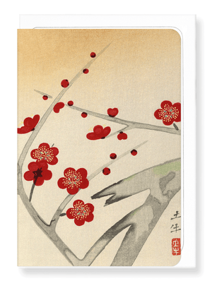 Ezen Designs - Red plum blossom tree - Greeting Card - Front